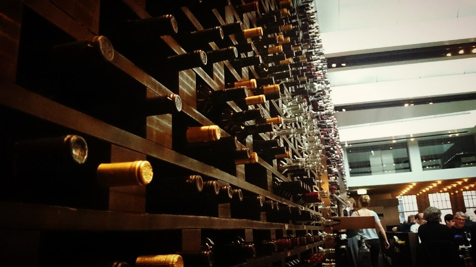 Wine bottle wall in an Amsterdam restaurant